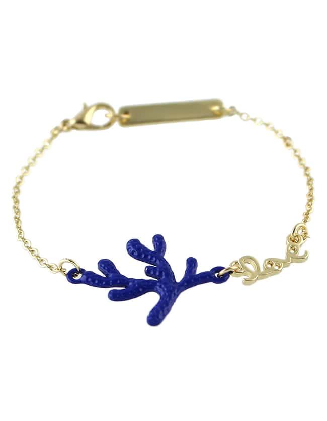 Alloy Blue Plated Leaf Shape Link Chain Bracelet For Women