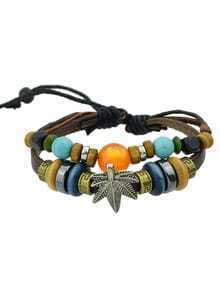 European Style Coffee Pu Leateher Multilayers Colorful Beads Bracelet