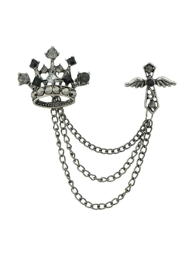 Gothic Punk Style Vintage Women Rhinestone Cross And Crown Brooch Jewelry