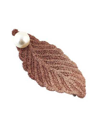 Alloy Apricot Plated Imitation Pearl Big Leaf Hair Pin