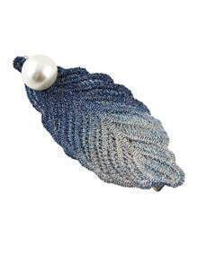 Alloy Blue Plated Imitation Pearl Big Leaf Hair Pin