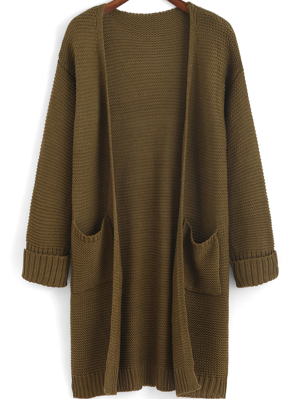 Flange Pockets Knit Army Green Cardigan