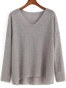 V Neck Dip Hem Grey Sweater