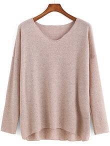 V Neck Dip Hem Apricot Sweater
