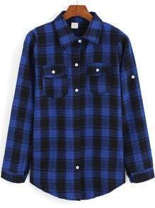 Lapel Checks Plaid Pockets Loose Blouse