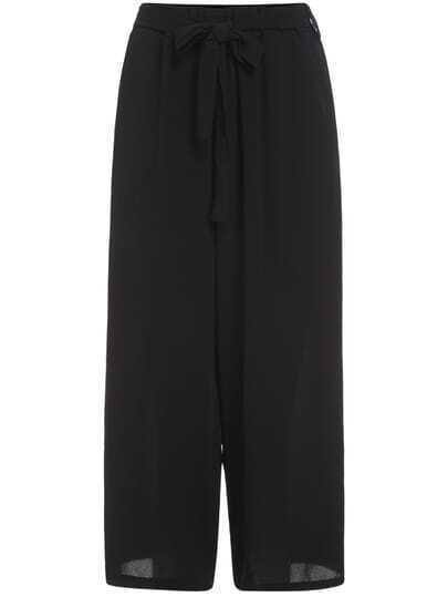 Elastic Waist Wide Leg Chiffon Pant