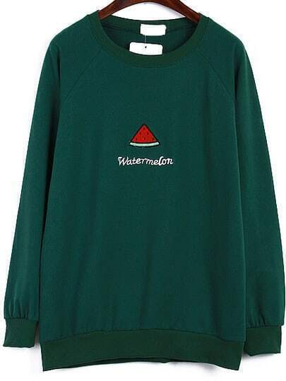 Watermelon Embroidered Green Sweatshirt