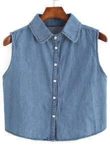 Lapel Button Down Denim Vest
