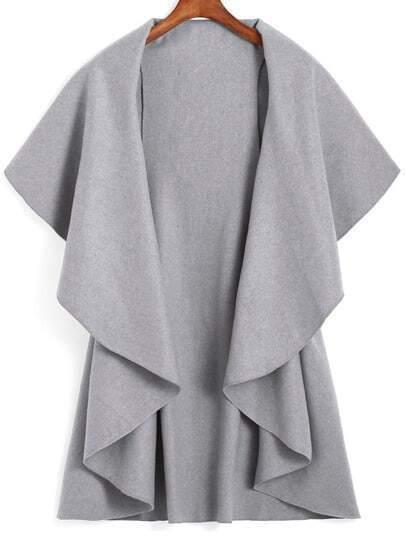 Lapel Dip Hem Loose Grey Coat