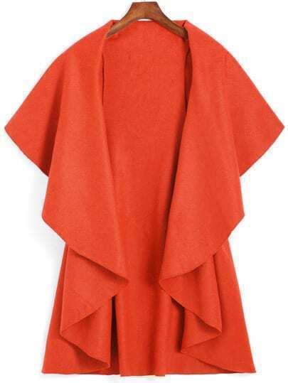 Lapel Dip Hem Loose Orange Coat