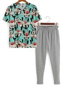 Cartoon Print Top With Drawstring Beam Port Pant
