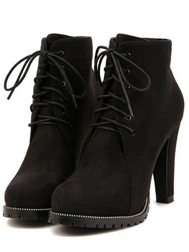 Black Platform Lace Up Rugged High Heeled Boots