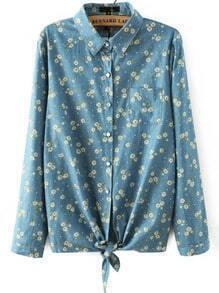 Blue Lapel Floral Pocket Denim Blouse