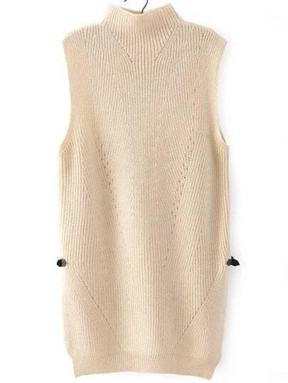 Apricot High Neck Split Knit Sweater Vest