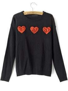 Black Round Neck Lace Hearts Pattern Sweater