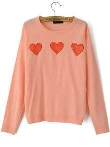 Pink Round Neck Lace Hearts Pattern Sweater