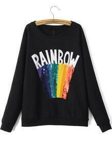 Black Round Neck RAINBOW Sequined Sweatshirt