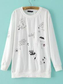 White Round Neck Cartoon Embroidered Loose Sweatshirt