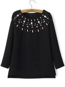 Black Round Neck Rhinestone Loose Sweatshirt