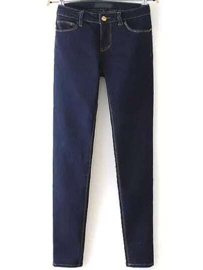 Navy Pockets Slim Denim Pant