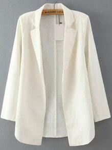 White Notch Lapel Long Sleeve Casual Blazer