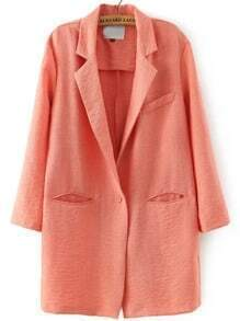Orange Notch Lapel Pockets Single Button Blazer