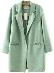Green Notch Lapel Pockets Single Button Blazer
