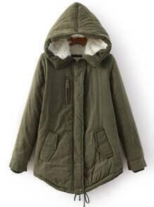 Army Green Hooded Pockets Loose Coat