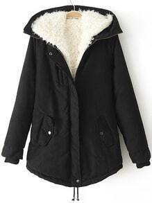 Black Hooded Pockets Loose Coat