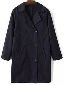 Navy Lapel Double Breasted Trench Coat