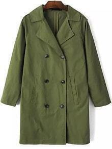 Green Lapel Double Breasted Trench Coat