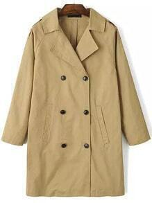 Khaki Lapel Double Breasted Trench Coat
