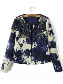 Blue White Round Neck Sequined Embroidered Crop Coat