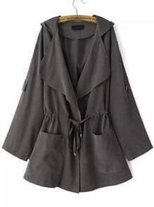 Grey Hooded Drawstring Pockets Trench Coat