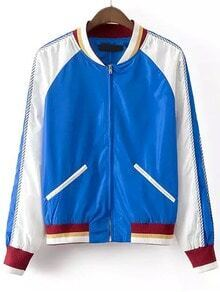 Colour-block Stand Collar Casual Jacket
