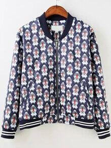 Multicolor Stand Collar Polka Dot Floral Jacket