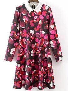 Multicolor Lapel Long Sleeve Floral Loose Dress
