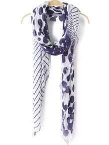 Purple White Polka Dot Casual Scarve