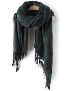 Green Plaid Fringe Scarve