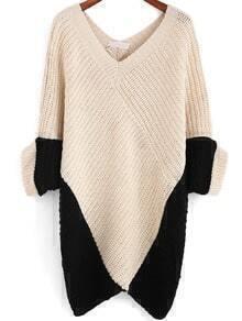 Colour-block V Neck Loose Knit Sweater