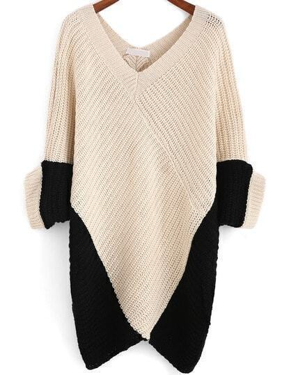 Colour-block V Neck Loose Knit Sweater