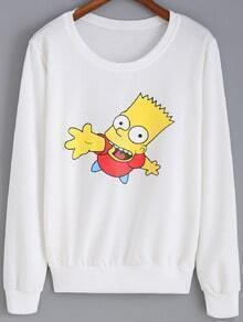 White Round Neck Simpson Print Sweatshirt