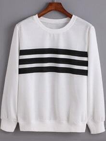 White Black Round Neck Striped Sweatshirt