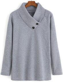 Grey Stand Collar Buttons Loose Sweatshirt
