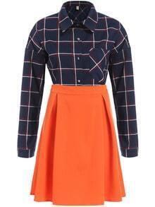 Navy Lapel Plaid Pocket Blouse With Orange Skirt