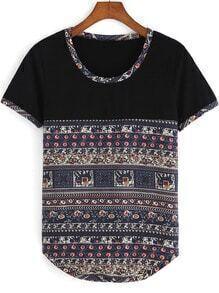 Multicolor Round Neck Tribal Print T-Shirt