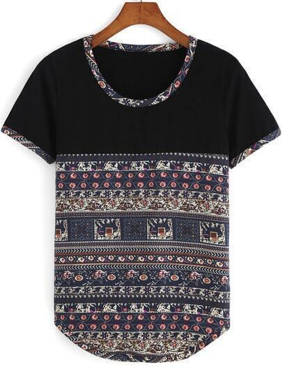 Multicolor Round Neck Tribal Print T-Shirt