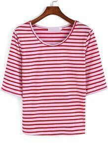 Red White Half Sleeve Striped T-Shirt