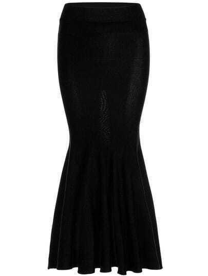 Black Slim Knit Fishtail Skirt