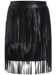 Black Tassel Bodycon PU Skirt